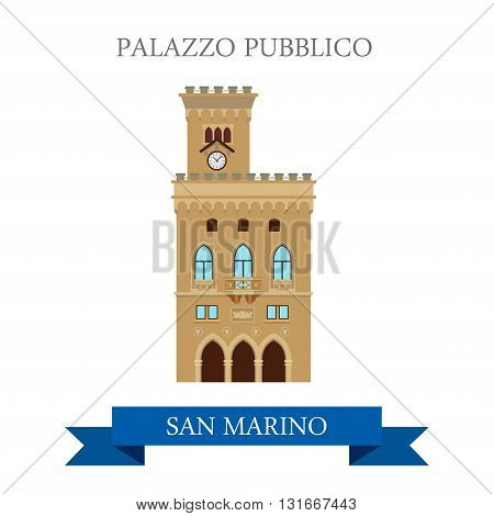 Palazzo Pubblico San Marino Europe flat vector sight landmark