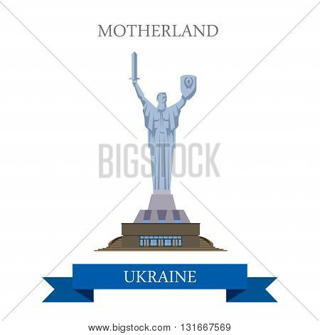 Motherland Monument Kyiv Kiev Ukraine flat vector attraction