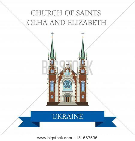 Church Sts Olha Elizabeth Lviv Ukraine flat vector attraction
