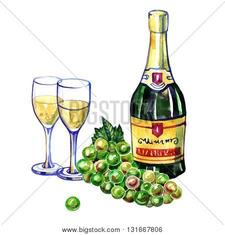 Watercolor bottle of champagne, two glasses and green grape on white background