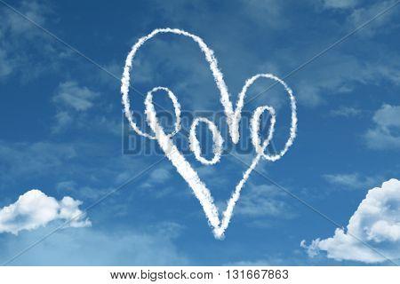 Love Heart Symbol cloud with a blue sky
