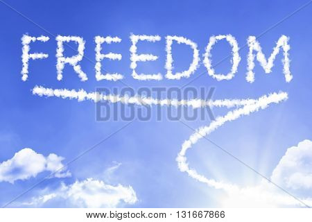 Freedom cloud word with a blue sky