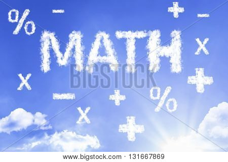 Math cloud word with a blue sky