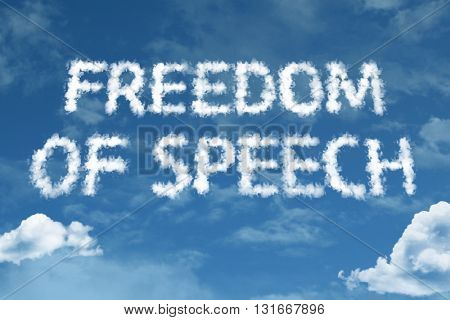 Freedom of Speech cloud word with a blue sky