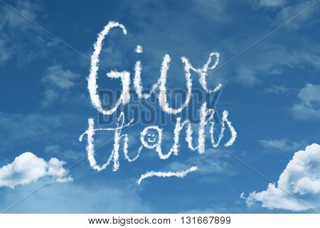 Give Thanks cloud word with a blue sky