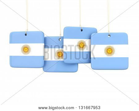 Square Labels With Flag Of Argentina