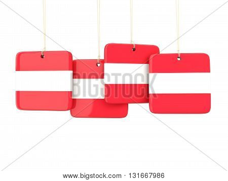 Square Labels With Flag Of Austria