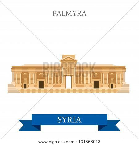 Palmyra in Syria vector flat attraction travel Asia landmarks