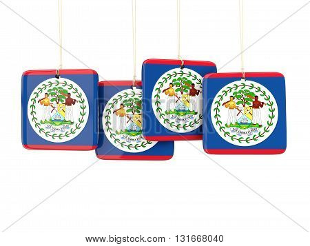 Square Labels With Flag Of Belize