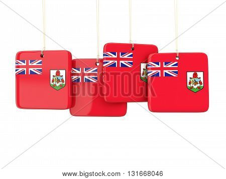 Square Labels With Flag Of Bermuda