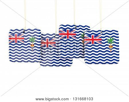 Square Labels With Flag Of British Indian Ocean Territory