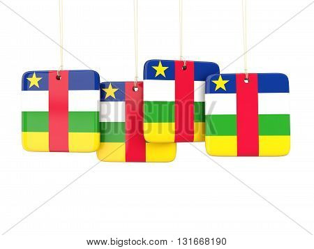 Square Labels With Flag Of Central African Republic