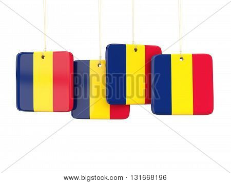 Square Labels With Flag Of Chad