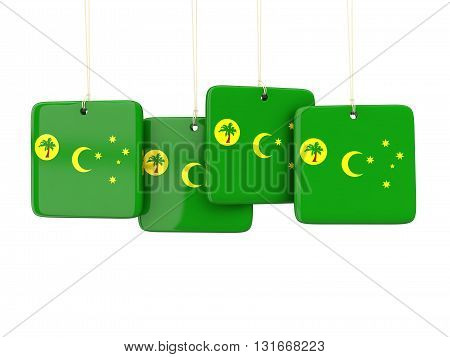 Square Labels With Flag Of Cocos Islands