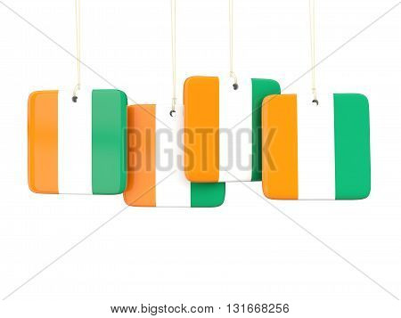 Square Labels With Flag Of Cote D Ivoire