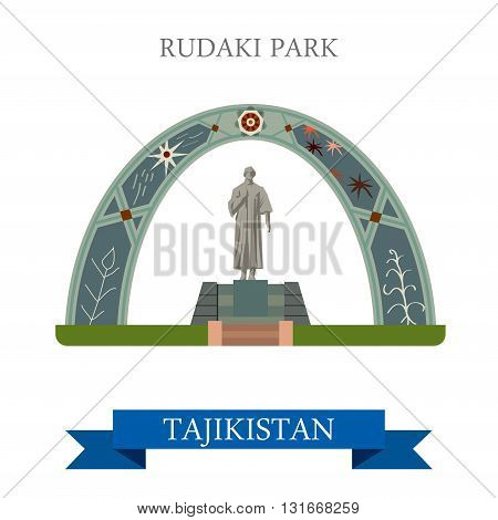 Rudaki Poet Park Dushanbe Tajikistan vector flat attraction