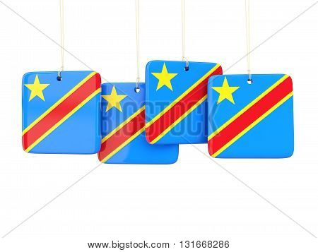 Square Labels With Flag Of Democratic Republic Of The Congo
