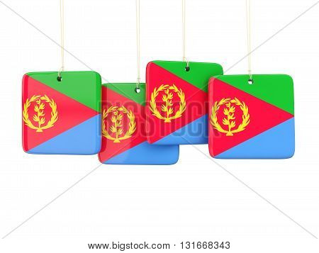 Square Labels With Flag Of Eritrea