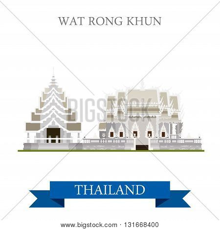 Wat Rong Khun Thailand vector flat attraction travel sightseeing