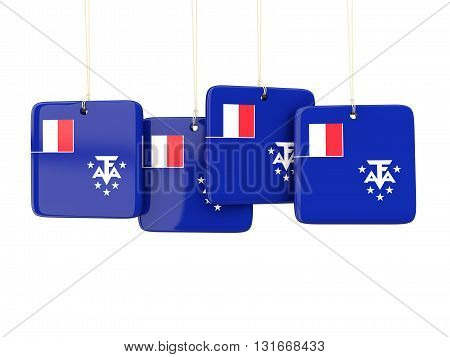 Square Labels With Flag Of French Southern Territories