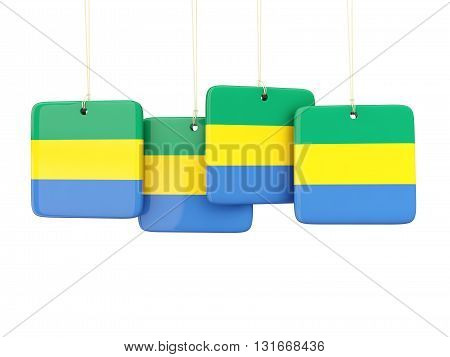 Square Labels With Flag Of Gabon