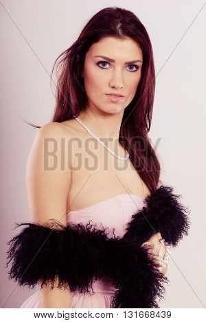 Brunette Woman In Bright Dress Boa Feather