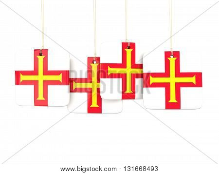 Square Labels With Flag Of Guernsey
