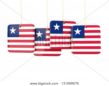 Square Labels With Flag Of Liberia
