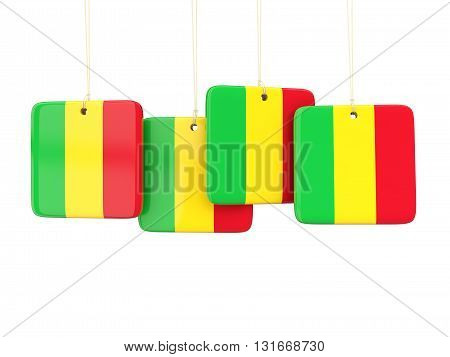 Square Labels With Flag Of Mali