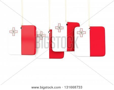 Square Labels With Flag Of Malta