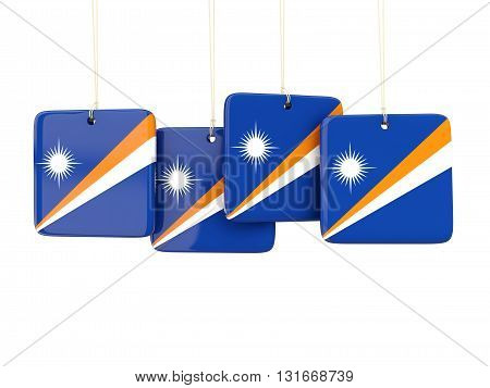 Square Labels With Flag Of Marshall Islands