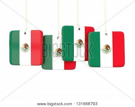 Square Labels With Flag Of Mexico