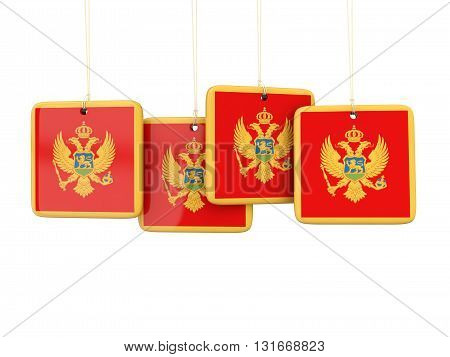 Square Labels With Flag Of Montenegro