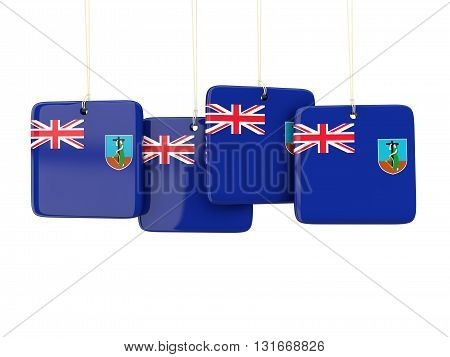 Square Labels With Flag Of Montserrat