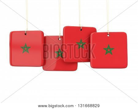 Square Labels With Flag Of Morocco