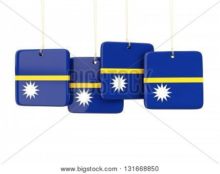 Square Labels With Flag Of Nauru
