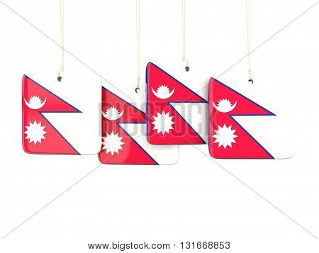 Square Labels With Flag Of Nepal