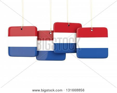 Square Labels With Flag Of Netherlands
