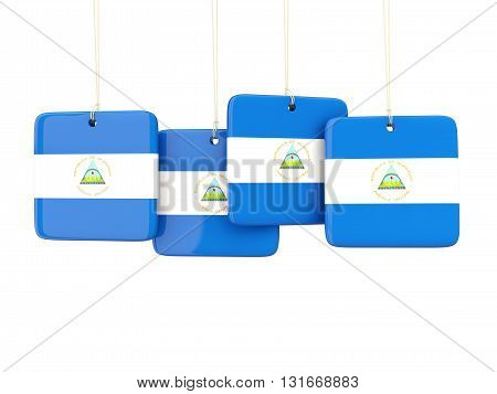 Square Labels With Flag Of Nicaragua