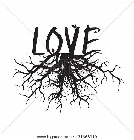 Shape of Black Roots and text LOVE. Vector Illustration.
