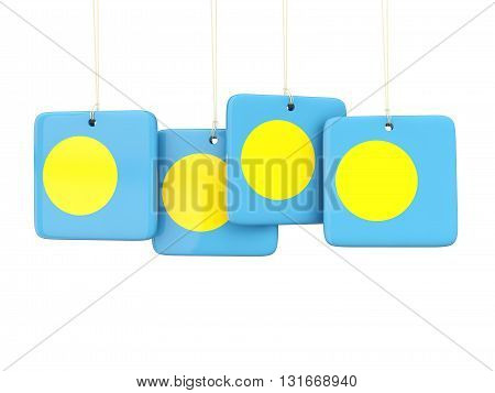 Square Labels With Flag Of Palau