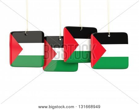 Square Labels With Flag Of Palestinian Territory