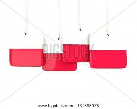 Square Labels With Flag Of Poland