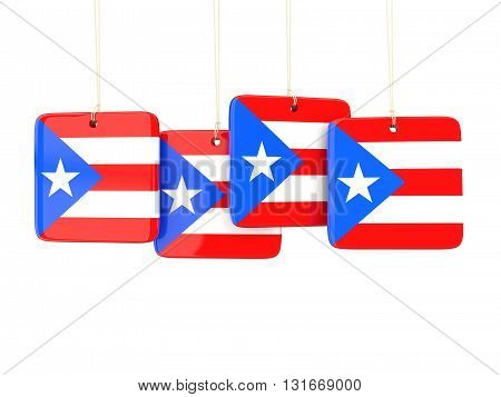 Square Labels With Flag Of Puerto Rico