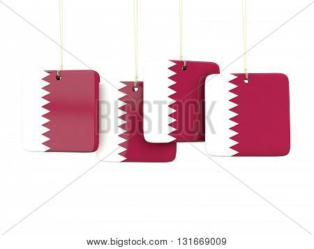 Square Labels With Flag Of Qatar