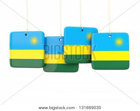 Square Labels With Flag Of Rwanda