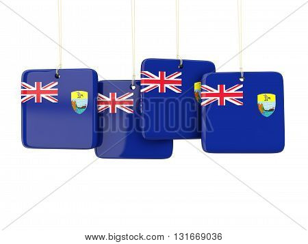 Square Labels With Flag Of Saint Helena