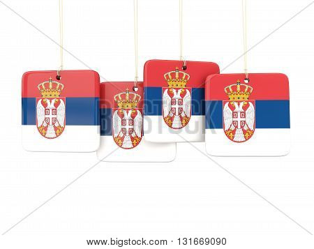 Square Labels With Flag Of Serbia