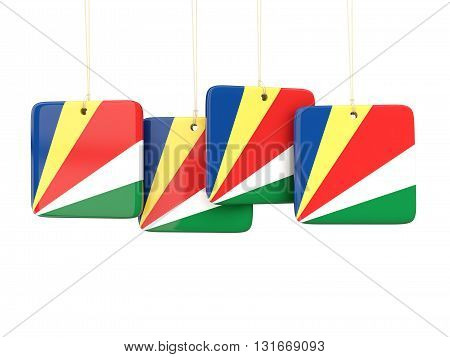 Square Labels With Flag Of Seychelles