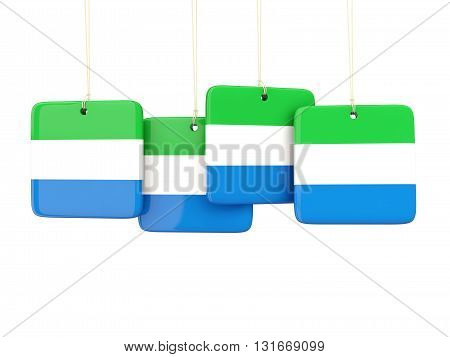 Square Labels With Flag Of Sierra Leone